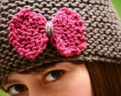 Hand-Knit Hat with Bow in Taupe and Raspberry Pink