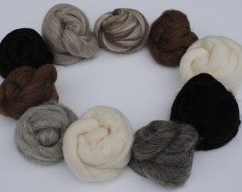 Heidifeathers Animal Mix - Natural Wool Tops 10 Types