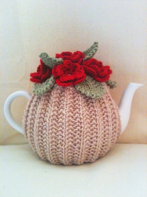 Small Tea Cosy Knitting Pattern : Knitted Tea Cosy Blood Red Roses Flower Garden Oatmeal