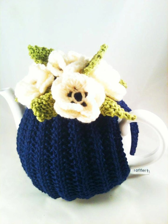 Royal Garden - Flower Garden Tea Cosy in Navy Blue Pure Merino Wool by Tafferty Designs size LARGE - Made to Order