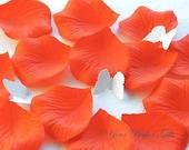 1000 pcs Persimmon Bright Hot Orange Silk Rose Petals Wedding Flower Favor Decoration RP006