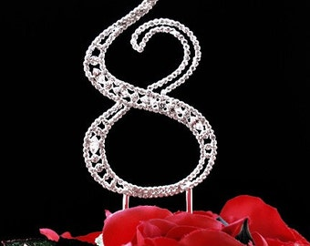 Bling Rhinestone Crystal Anniversary Birthday Party Cake Topper Number Silver 5 Inches CT068