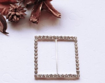 Rhinestone Buckles Wholesale Buckles 2 Inches Crystal Sliders Silver Wedding Invitation Wedding Supplies BK046 Square Buckle
