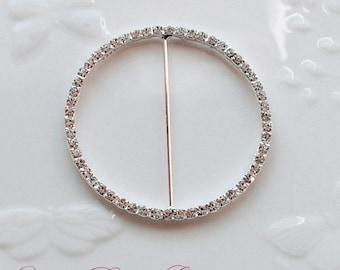 Rhinestone Buckle Wholesale Buckle Crystal Slider Silver Wedding Invitation Wedding Supplies Napkin Ring BK037 Round Buckle