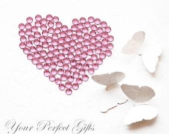 1000 pcs Acrylic Round Faceted Flat Back Rhinestone 4mm Bling Light Rose Pink FREE shipping USA Embellishment Nail Art LR051