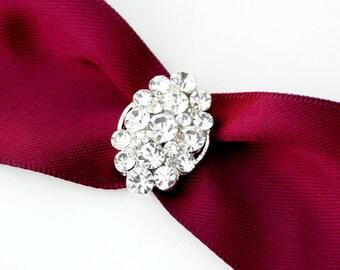 Rhinestone Buckle Wholesale Buckle Crystal Slider Silver Wedding Invitation Wedding Supplies Napkin Ring BK073 Crystal Buckle
