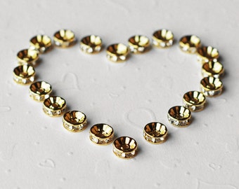 30 pcs Rondelle Rhinestone Crystal Gold Plated Spacer 8mm Bead Caps AC032