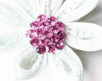 "5 Rhinestone Button Light Rose Pink Round 1.1"" Diamante Crystal Hair Flower Comb Wedding Invitation Scrapbooking BT112"
