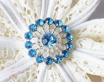 10 Rhinestone Button Light Blue Round Diamante Crystal Hair Flower Comb Wedding Invitation Scrapbooking BT123