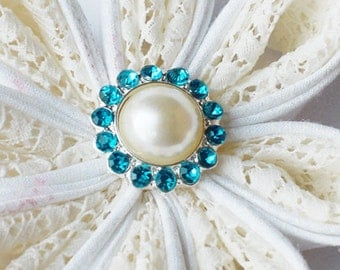 10 Rhinestone Buttons Round Pearl Teal Blue Crystal Hair Flower Comb Clip Wedding Invitation BT116