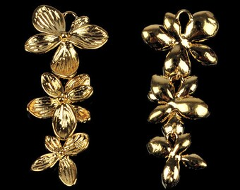 SALE 10 pcs Triple Orchid Flower Pendant Charm Connector Gold Necklace Earring Bracelet Jewelry FREE combine shipping US AC045