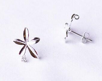 SALE 10 pcs Single Flower Earring Earstuds Clear Crystal Rhinestone Silver Plated FREE combine shipping US EF030