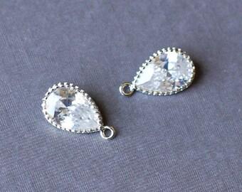 10 Cubic Zirconia Pear Cut Drop Dangle Teardrop Pendant Charm Silver Crystal Rhinestaone AC055
