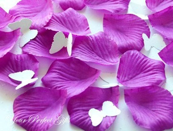 1000 PC PURPLE SILK ROSE PETALS WEDDING FLOWER FAVOR