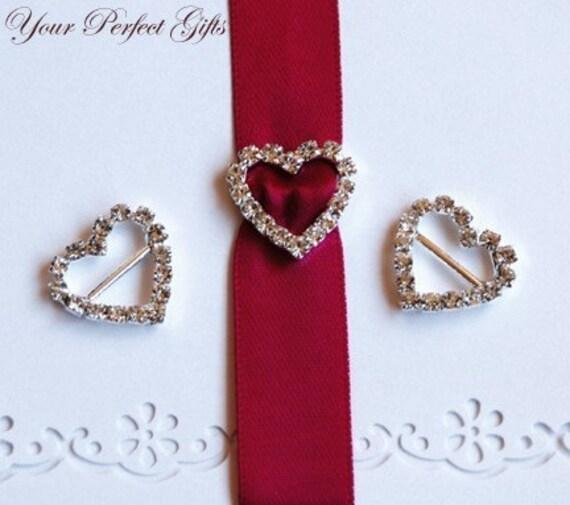 Rhinestone Buckles Wholesale Buckles Crystal Sliders Silver Wedding Invitation Wedding Supplies BK012 Heart Buckle Slider