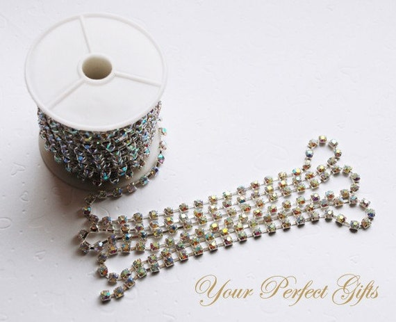 3 Feet/1 Yard SS12 3.2mm Clear AB Rhinestone Chain Crystal Silver Plated Wedding Cake Decoration Bouquet Jewelry Design RC012