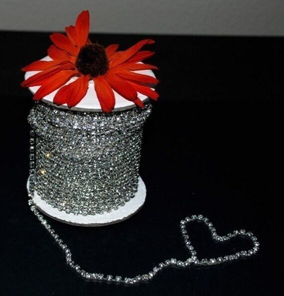 3 Feet/1 Yard SS12 3.2mm Rhinestone Chain Crystal Silver Plated Wedding Cake Decoration Banding Bouquet Flower Jewelry RC005