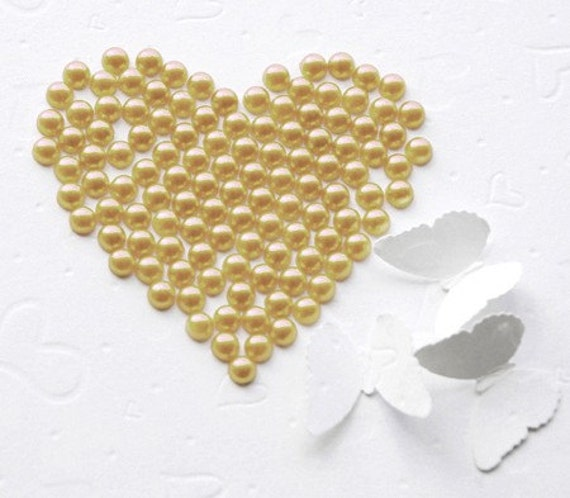 100 pcs Half Round Flat Back Pearl 7mm Yellow FREE shipping USA for Scrapbooking Embellishment Cell Phone Case Nail Art LP031