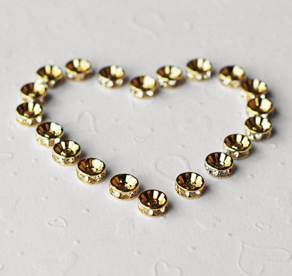 30 pcs Rondelle Rhinestone Crystal Gold Plated Spacer 10mm Bead Caps AC033