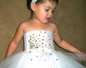 Tutu Dress Pretty as a Pearl  3 Tiered with Matching headband with Pearls Other colors Available
