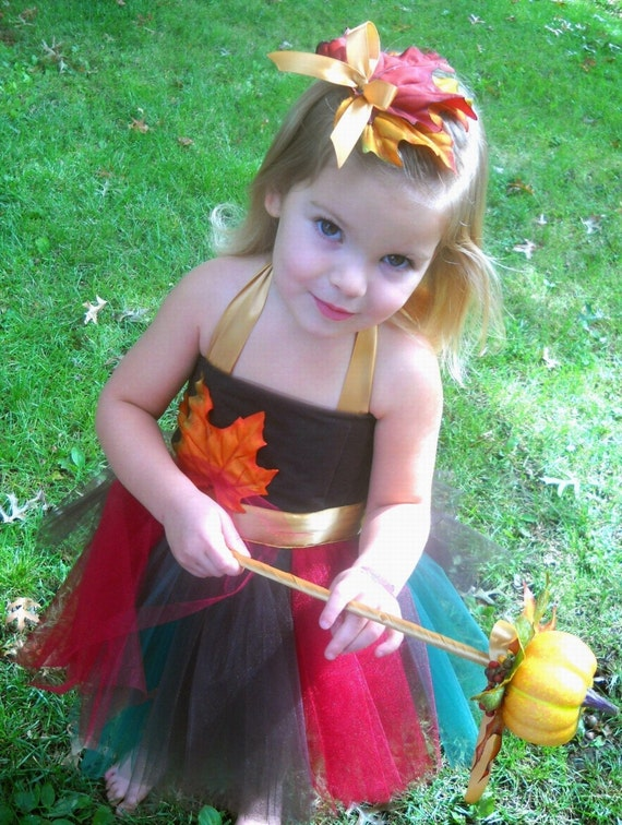 Tutu  Dress Fall Autumn Baby Toddler with matching hairclip Lovely Autumn Multi Color