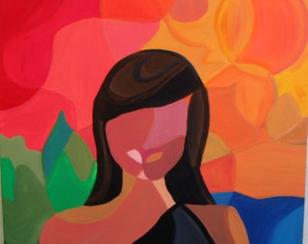 Island Girl-ORIGINAL CONTEMPORARY 18x18 acrylic painting on canvas