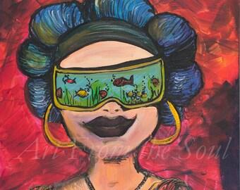 Feelin' Fine- 16x20 ORIGINAL ACRYLIC PAINTING print on canvas. Many Sizes Available.