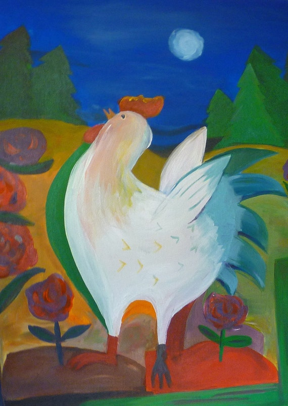 My Girl- ORIGINAL ACRYLIC PRINT Abstract Colorful Chicken in Landscape