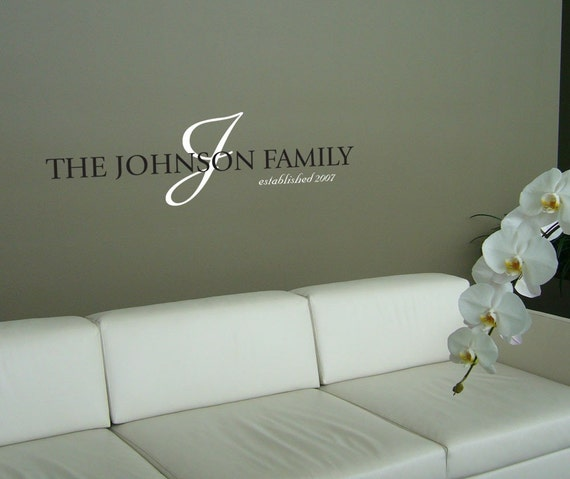 Name In Lights Wall Decor : Custom Family Name Vinyl Wall Art Decal by decalfarm on Etsy