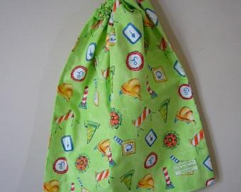 Medium Green Drawstring Traffic Signs Boy's Book Bag, Library Bag, Toy Bag, Laundry Bag, Beach Bag, Drawstring Bag
