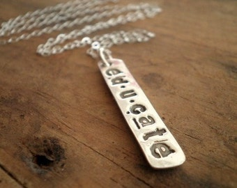 Fine Silver Rustic Word Necklace
