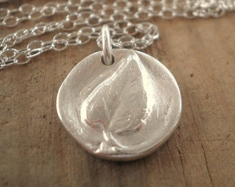 Fine Silver Single Leaf - Vintage Button Collection