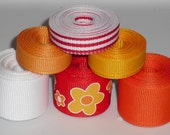 Red Orange & Yellow Flower Mix 12 yards Grosgrain Ribbon