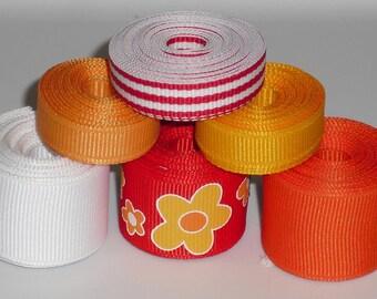 Red Orange & Yellow Flower Mix 12 yards Grosgrain Ribbon