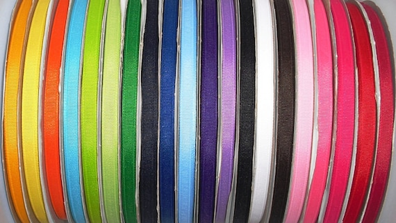 20 Yards Solid Colors 3/8 inch Grosgrain Ribbon Mix