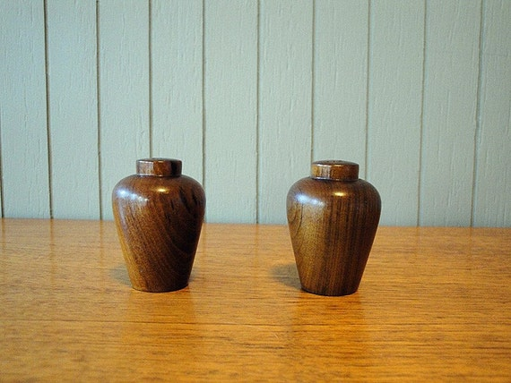SALE - Tiny Wood Salt and Pepper Shakers