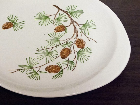 Lugged Platter with Hand Painted Pine Tree Branch Pattern