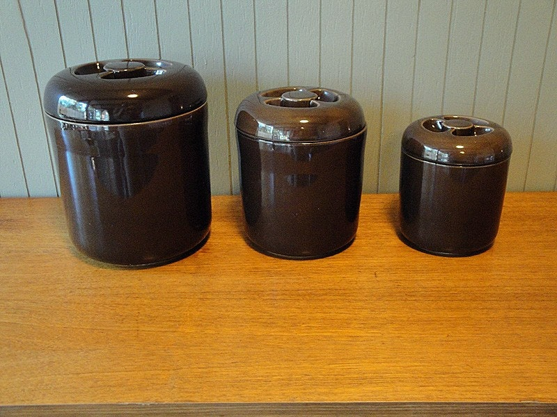 set of 3 brown ceramic canisters by robert steven witkoff