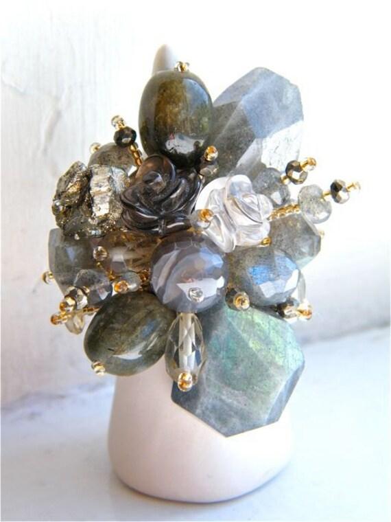 Bouquet Ring //  Labradorite & Pirite Bouquet-grey-statement ring-natural-rock-dancingleafdesgin