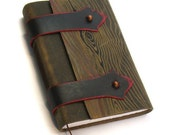 """Leather Journal with Distressed Wood Pattern - """"Medieval Book"""""""