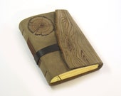 Handmade Leather Journal - Wood Log Engraving - Decorative Hand Stamped Paper