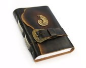 "Leather Journal in Gold and Brown with Unlined Thick Paper - ""Inspiration"""