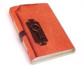 "Art Journal Notebook - Orange Leather Journal Blank - Leather Diary - ""Magic Key"""