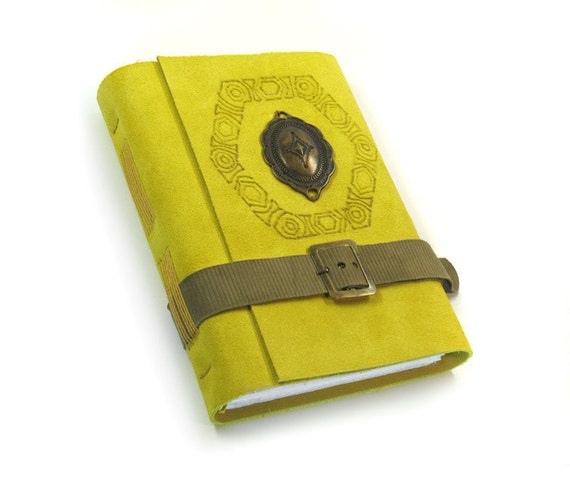 Suede Journal - Yellow Leather Cover - Geometric Sun