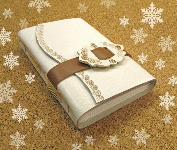 Handmade Leather Journal - white mustard brown