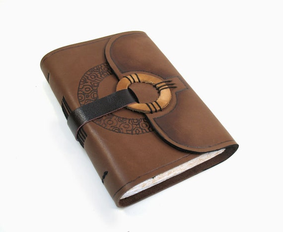 Art Journal - Hand Bound Journal with Leather Cover and Decorative Paper - 3 types of leather