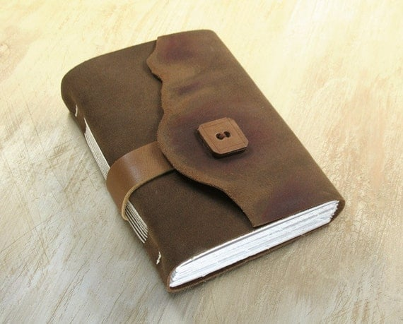 Vintage Style Leather Journal - Little Secrets Holder - brown Leather Journal