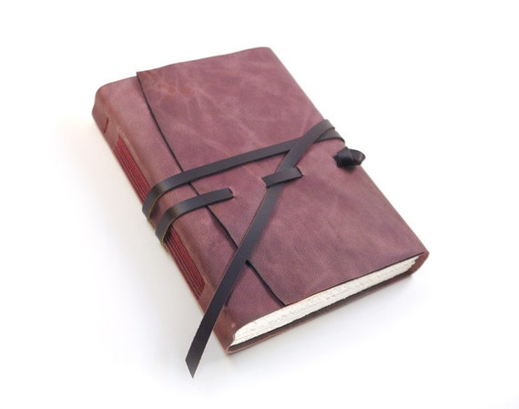 Dusty Purple - Leather Handbound Journal - Drawing Paper Notebook