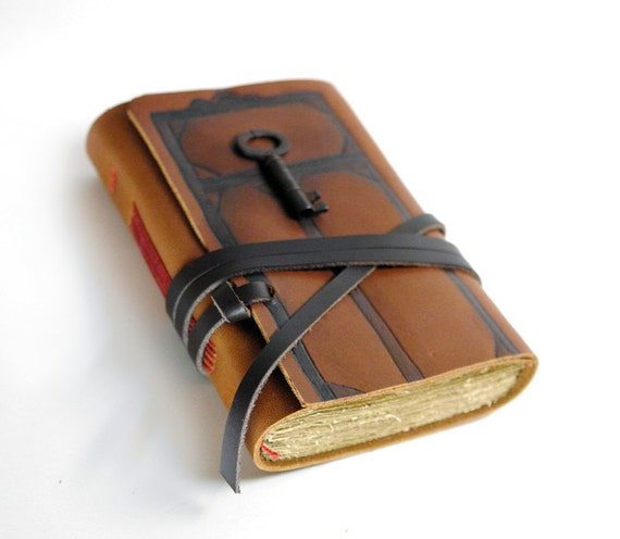 Secret Door - Brown Leather Journal with Tiny Vintage Key and Old Pages - Engraved, Hand Painted