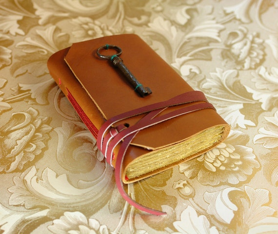 Victorian Secret - Leather Journal with Antique Skeleton Key and Vintage Style Paper